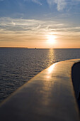 Railing aboard cruiseship MS Princess Daphne at sunset, Portsmouth, Hampshire, England, Europe