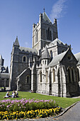 People having picnic on lawn of Christ Church Cathedral, Dublin, County Dublin, Leinster, Ireland, Europe