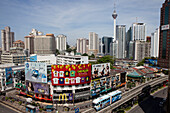 Shopping and Entertainment district Bukit Bintang, Sky Train and Menara Tower, downtown Kuala Lumpur, Malaysia, Asia