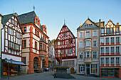 Market place with St. Michael's fountain, Bernkastel-Kues, Rhineland-Palatinate, Germany