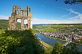 View from castle ruin Grevenburg over river Moselle to Traben-Trarbach, Rhineland-Palatinate, Germany
