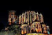 The Night of the Chimeras, la Nuit des Chimères, a light show by Skertzo Cathedral's apsis, twelve successive pictures evoke various themes : angels and demons, the forest, the zodiac, vessels  Le Mans, old city Plantagenêt, Sarthe, Pays de la Loire, F