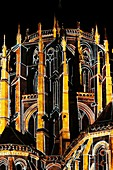 Night of the Chimeras (Nuit des Chimères), light show by Skertzo: twelve successive pictures evoke various themes like angels and demons, the forest, the zodiac, vessels, etc. on the cathedral apse, Cité Plantagenêt, Le Mans, Sarthe, France