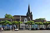 Germany, Krefeld, Rhine, Lower Rhine, North Rhine-Westphalia, D-Krefeld-Uerdingen, parish church Saint Peter, catholic church, market square
