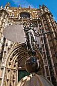 the Cathedral and a reproduction of the Giralda ,  statue representing theVictorous Faith ,  weather vane Sevilla Andalusia Spain