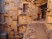 Morocco - Inside the perfectly preserved agadir = fortified granary of Tasguent in the Anti-Atlas mountains in southwest Morocco The grain chambers are reached by perilous looking step treads