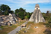 Great Plaza and Temple of the Giant Jaguar. Temple I. Mayan ruins of Tikal. Guatemala.