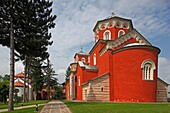 Serbia, Zica Monastery, early 12th century, first Serbian autonomous Archbishopric from 1218, Orthodox, christian, religious, exterior, outside, facade, colour