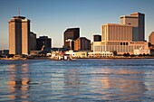 USA, Louisiana, New Orleans, skyline and the Mississippi River from Algiers, morning