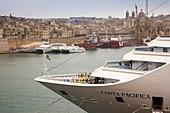 Malta, Valletta, Floriana, cruiseship at Pinto Wharf and view towards Senglea