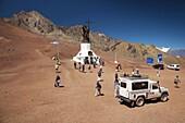 Argentina, Mendoza Province, Las Cuevas, visitors at the Cristo Redentor (Christ the redeemer) statue, el 4000 meters, Chilean frontier