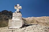 Argentina, Mendoza Province, Las Cuevas, Cementerio de Andinistas, cemetery for mountain climbers who died on Cerro Aconcagua