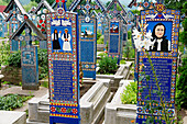 Painted graves at Merry Cemetery, Sapanta, Maramures County, Romania