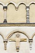 Detail der Fassade des  Hunsrückdom, Ravengiersburg, Hunsrück, Rheinland-Pfalz, Deutschland, Europa
