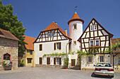 Kirchheimbolanden, Half-timbered house at place at the Grauer Turm, Old City, Nordpfalz, Rhineland-Palatinate, Germany, Europe