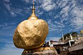 The Golden Rock, Buddhistic pilgrim destination Kyaikhtiyo Pagoda in the sunlight, Mon State, Myanmar, Birma, Asia