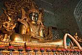 Golden Buddha at Mahamuni Pagoda, Mawlamyaing, Mon State, Myanmar, Birma, Asia