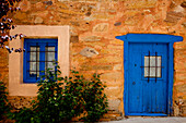 House with painted blue door, Murias de Rechivaldo, near Astorga, Camino Frances, Way of St. James, Camino de Santiago, pilgrims way, UNESCO World Heritage, European Cultural Route, province of Leon, Old Castile, Castile-Leon, Castilla y Leon, Northern Sp