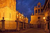 Astorga cathedral at night, Camino Frances, Way of St. James, Camino de Santiago, pilgrims way, UNESCO World Heritage, European Cultural Route, Astorga, province of Leon, Old Castile, Castile-Leon, Castilla y Leon, Northern Spain, Spain, Europe