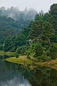Belesar Reservoir, Embalse de Belesar, and Rio Mino river, near Portomarin, Camino Frances, Way of St. James, Camino de Santiago, pilgrims way, UNESCO World Heritage, European Cultural Route, province of Lugo, Galicia, Northern Spain, Spain, Europe