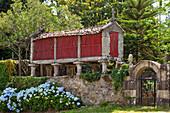 Granary storehouse, Horreo, Serra de Outes, near Fisterra, Way of St. James, Camino de Santiago, pilgrims way, UNESCO World Heritage, European Cultural Route, province of La Coruna, Galicia, Northern Spain, Spain, Europe