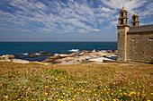 Pilgrimage church from the 17th century, Nuestra Senora de la Barca, Muxia, Mugia, Way of St. James, Camino de Santiago, pilgrims way, province of La Coruna, Galicia, Northern Spain, Spain, Europe