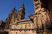 Portal at Colegio de San Jeronimo wih sculpture of St. James, cathedral of Santiago de Compostela, 15.Jhd., Camino Frances, Way of St. James, Camino de Santiago, pilgrims way, UNESCO World Heritage Site, European Cultural Route, province of La Coruna, Gal