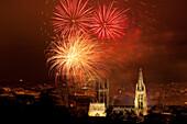 Burgos cathedral at night with firework display, Gothic, Camino Frances, Way of St. James, Camino de Santiago, pilgrims way, UNESCO World Heritage Site, European Cultural Route, province of Burgos, Old Castile, Castile-Leon, Castilla y Leon, Northern Spai