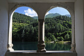 View out of a window at lake Lago di Scanno, Abruzzi, Italy, Europe