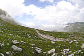 Mountain biker at Monte Aquila, Campo Imperatore, Gran Sasso National Park, Abruzzi, Italy, Europe