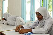 Pupil, Atoll School, Local, Kuredhu Island near Kanuhura Island, Lhaviyani Atoll, Maldives