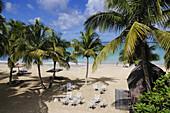 Beachside cafe, Tamarind Beach Hotel, Canouan Island, Saint Vincent, Karibik, Caribbean