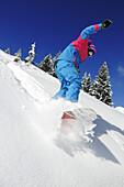 Snowboarder bei der Abfahrt, Reit im Winkl, Chiemgau, Bayern, Deutschland, Europa