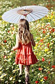Caucasian ethnicity, child, childhood, Female, field, flower, girl, kid, spring, young, youth, F57-1148253, AGEFOTOSTOCK