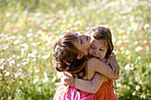 Caucasian ethnicity, child, childhood, Female, field, flower, girl, kid, spring, young, youth, F57-1148994, AGEFOTOSTOCK