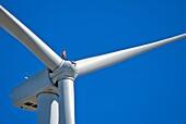 Maintenance worker standing on hub of wind turbine, 250 feet above ground