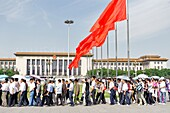 People waiting to visit the Mausoleum of Mao Zedong in Tiananmen Square, Beijing, China
