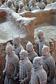 Terracotta Army guarding the first emperor Qin Shi Huangdis tomb, Xi'an, Shaanxi province, China