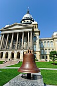 Liberty Bell in front of Illinois State Capitol Building Springfield Illinois
