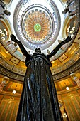 Statue Welcoming the World with Interior Dome of Illinois State Capitol Springfield