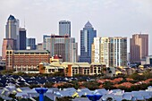 Downtown Tampa Florida Skyline with Residential Homes