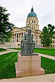 Statue of Abraham Lincoln in front of state capitol Topeka Kansas
