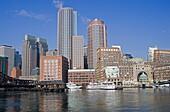 Skyline financial district Boston Massachusetts USA New England modern buildings contrast architecture city business