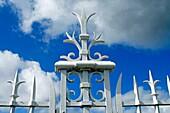 Fleur de lis, on, gate, in, vineyard, Medoc, Bordeaux, Aquitaine, France, Europe, vines, agriculture, travel, tourist, destination