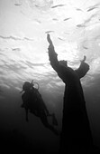 Diver and Christ of the Abyss statue (Florida)
