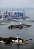 Statue of Liberty aerial view, Manhattan, New York, USA
