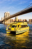 ferry under Brooklyn Bridge, Manhattan, New York City, USA
