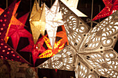 Illuminated stars at Christmas Market, Hamburg, Germany