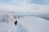 Winter stroll at Wasserkuppe mountain near Gersfeld, low mountain range, Rhoen, Hesse, Germany
