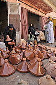 Tajine forms on a market in Asni, Marrekech area,  High Atlas, Morocco